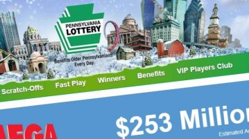 Pennsylvania lottery website screenshot