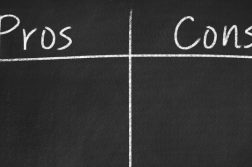 Chalkboard separated into pros and cons