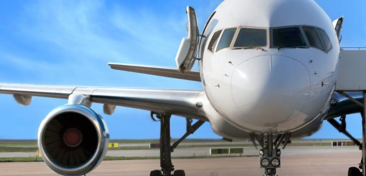 Airplane with its door open