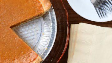 Pumpkin pie with a piece missing