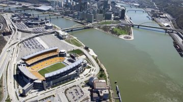 Aerial view of Rivers Stadium in Pennsylvania