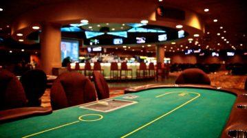 Empty poker table inside a casino