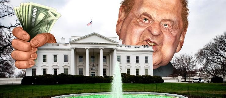 Sheldon Adelson with his arms around the White House holding money