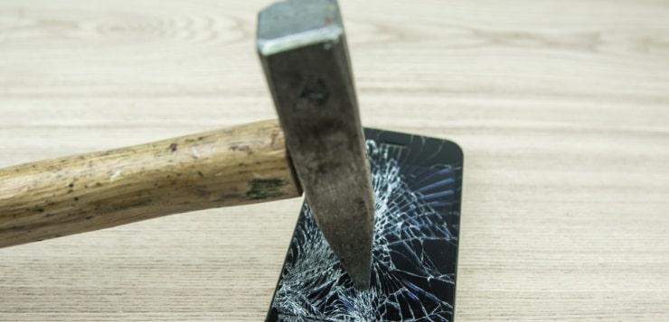 hammer crushing phone