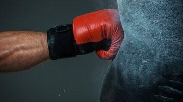 boxer hitting bag