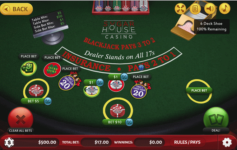 SugarHouse Casino Multi-Bet Blackjack with optional sidebets