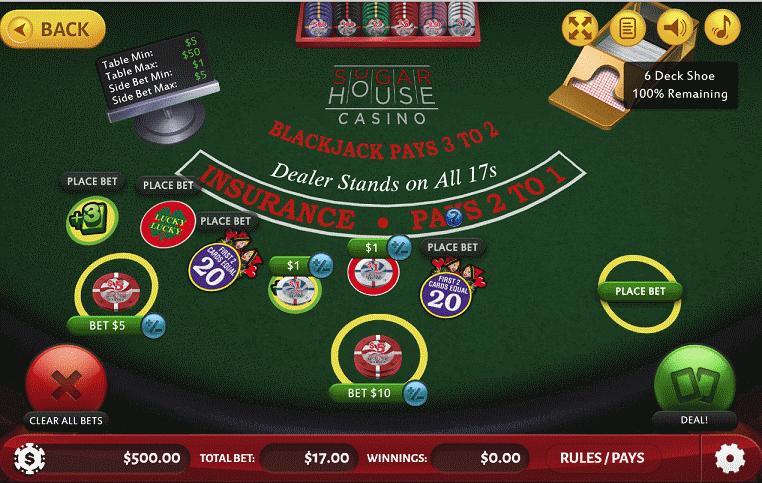 SugarHouse Casino Multi-Bet Blackjack with optional sidebets