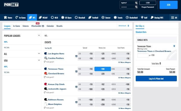 FOX Bet NFL betting options