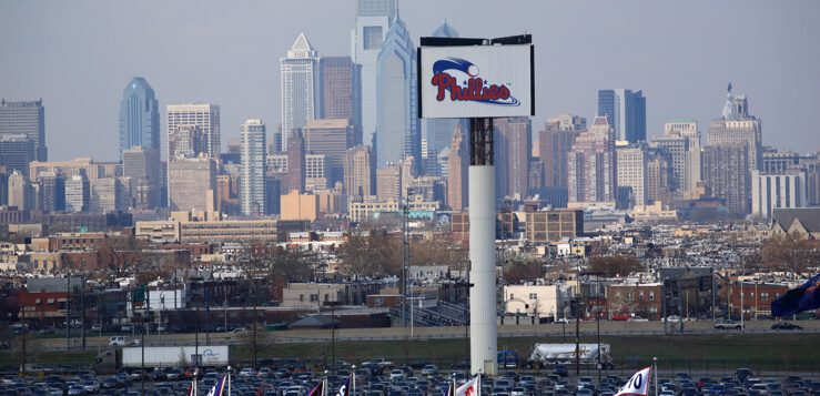 philadelphia skyline from citizens bank park