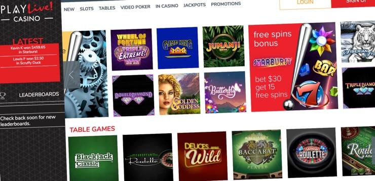 play live casino home screen